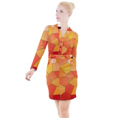 Background Pattern Of Orange Mosaic Button Long Sleeve Dress by Sudhe