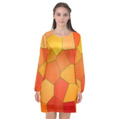 Background Pattern Of Orange Mosaic Long Sleeve Chiffon Shift Dress