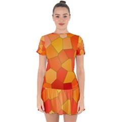 Background Pattern Of Orange Mosaic Drop Hem Mini Chiffon Dress