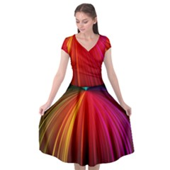 Background Color Colorful Rings Cap Sleeve Wrap Front Dress