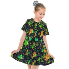 Squares And Rectangles Background Kids  Short Sleeve Shirt Dress by Sudhe