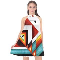 Diamond Acrylic Paint Pattern Halter Neckline Chiffon Dress