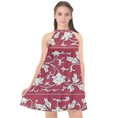Floral Pattern Background Halter Neckline Chiffon Dress
