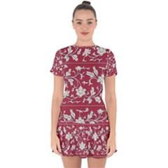 Floral Pattern Background Drop Hem Mini Chiffon Dress