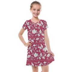 Floral Pattern Background Kids  Cross Web Dress by Sudhe