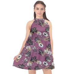Beautiful Floral Pattern Background Halter Neckline Chiffon Dress