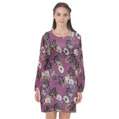 Beautiful Floral Pattern Background Long Sleeve Chiffon Shift Dress