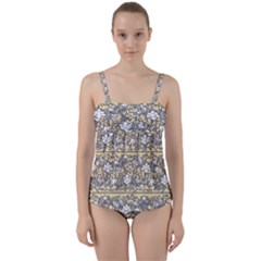 Floral Pattern Background Twist Front Tankini Set by Sudhe