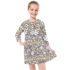 Floral Pattern Background Kids  Quarter Sleeve Shirt Dress by Sudhe