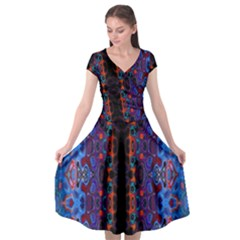 Kaleidoscope Art Pattern Ornament Cap Sleeve Wrap Front Dress