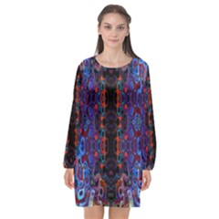 Kaleidoscope Art Pattern Ornament Long Sleeve Chiffon Shift Dress