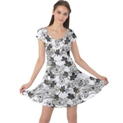 Black And White Floral Pattern Background Cap Sleeve Dress