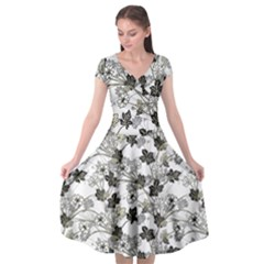 Black And White Floral Pattern Background Cap Sleeve Wrap Front Dress