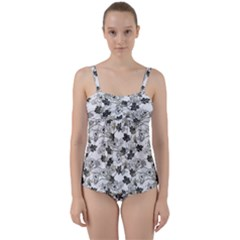 Black And White Floral Pattern Background Twist Front Tankini Set by Sudhe