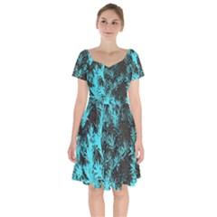 Blue Etched Background Short Sleeve Bardot Dress