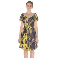 Artistic Yellow Background Short Sleeve Bardot Dress by Sudhe