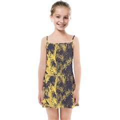 Artistic Yellow Background Kids  Summer Sun Dress by Sudhe