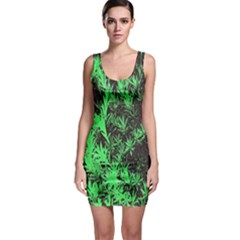 Green Etched Background Bodycon Dress by Sudhe