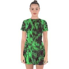 Green Etched Background Drop Hem Mini Chiffon Dress