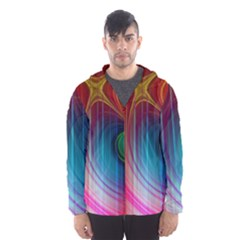 Background Color Colorful Rings Hooded Windbreaker (men) by Sudhe