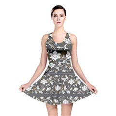 Floral Pattern Background Reversible Skater Dress