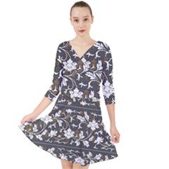 Floral Pattern Background Quarter Sleeve Front Wrap Dress