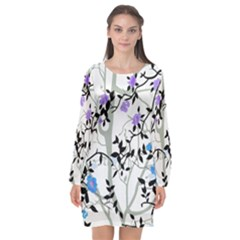 Floral Pattern Background Long Sleeve Chiffon Shift Dress