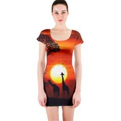 Animals Birds Dawn Giraffe Short Sleeve Bodycon Dress