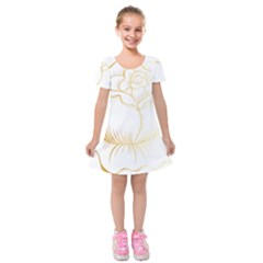 Golden Rose Stakes Kids  Short Sleeve Velvet Dress by Sudhe