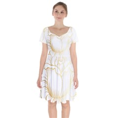 Golden Rose Stakes Short Sleeve Bardot Dress by Sudhe