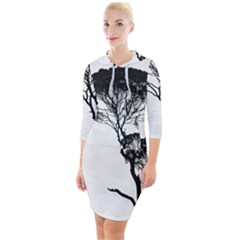 Silhouette Photo Of Trees Quarter Sleeve Hood Bodycon Dress by Sudhe