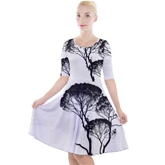 Silhouette Photo Of Trees Quarter Sleeve A Line Dress by Sudhe