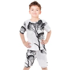 Silhouette Photo Of Trees Kids  Tee And Shorts Set by Sudhe