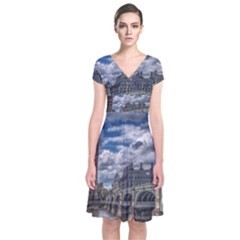 Architecture Big Ben Bridge Buildings Short Sleeve Front Wrap Dress