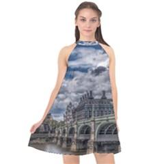 Architecture Big Ben Bridge Buildings Halter Neckline Chiffon Dress