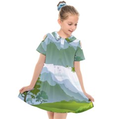 Forest Landscape Photography Illustration Kids  Short Sleeve Shirt Dress by Sudhe