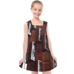 Abstract Architecture Building Business Kids  Cross Back Dress by Sudhe