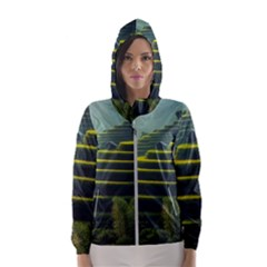 Scenic View Of Rice Paddy Hooded Windbreaker (women) by Sudhe