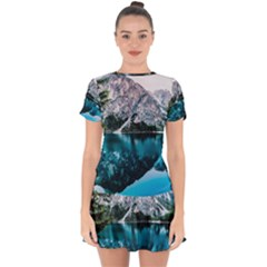 Daylight Forest Glossy Lake Drop Hem Mini Chiffon Dress by Sudhe