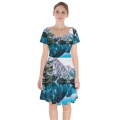 Daylight Forest Glossy Lake Short Sleeve Bardot Dress by Sudhe