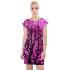 Pink Silhouette Tree Cap Sleeve Bodycon Dress by Sudhe