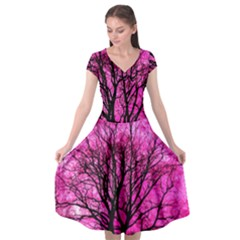 Pink Silhouette Tree Cap Sleeve Wrap Front Dress