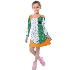 Technology Brain Digital Creative Kids  Long Sleeve Velvet Dress by Sudhe