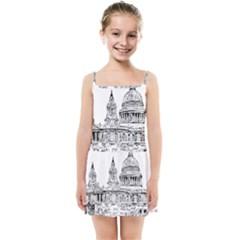 Line Art Architecture Church Kids  Summer Sun Dress