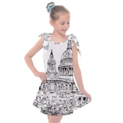 Line Art Architecture Church Kids  Tie Up Tunic Dress by Sudhe