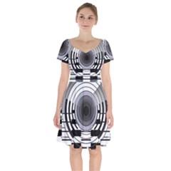 Glass Illustration Technology Short Sleeve Bardot Dress by Sudhe