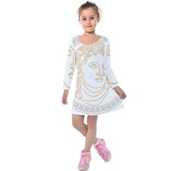 Apollo Design Draw Vector Nib Kids  Long Sleeve Velvet Dress by Sudhe