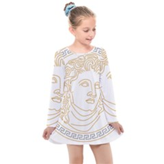 Apollo Design Draw Vector Nib Kids  Long Sleeve Dress by Sudhe