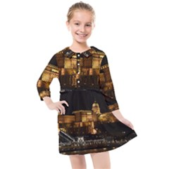 Budapest Buda Castle Building Scape Kids  Quarter Sleeve Shirt Dress by Sudhe