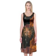 Geology Sand Stone Canyon Midi Sleeveless Dress